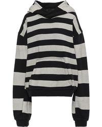 Haider Ackermann Striped French Cotton-terry Hooded Sweatshirt Black