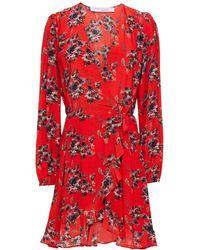 IRO Floral-print Crepe De Chine Mini Wrap Dress - Red