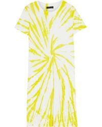 ATM - Tie-dyed Slub Pima Cotton-jersey Mini Dress Lime Green - Lyst