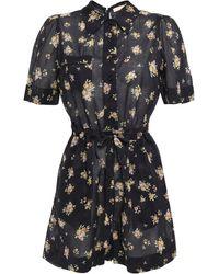 byTiMo Tie-front Floral-print Cotton-voile Playsuit Black