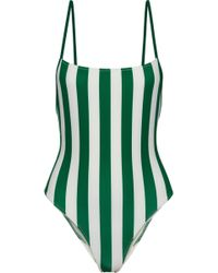 Solid & Striped - The Chelsea Striped Swimsuit Emerald - Lyst
