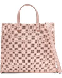 Clare V. - Woman Simple Perforated Leather Tote Baby Pink - Lyst