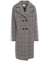 Carven Double-breasted Faux Fur-trimmed Prince Of Wales Checked Wool-blend Coat - Black