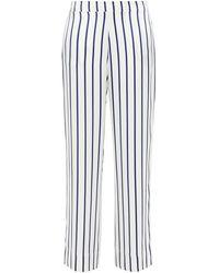 Asceno Striped Silk-satin Pajama Pants - White