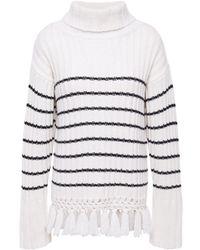 Each x Other Crochet-trimmed Striped Merino Wool Turtleneck Jumper Ecru - Multicolour