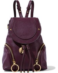 See By Chloé See By Chloé Olga Small Textured-leather Backpack Plum - Purple