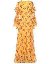 Borgo De Nor Luna Ruffled Floral-print Cotton-voile Maxi Dress - Yellow