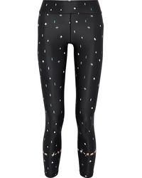 The Upside Cropped Printed Stretch Leggings Black