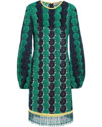Emilio Pucci - Bead-embellished Guipure Lace Mini Dress Forest Green - Lyst