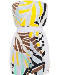 Emilio Pucci Strapless Printed Cotton-blend Terry Playsuit Sky Blue