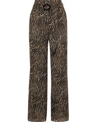 Nanushka Nevada Belted Tiger-print Plissé Chiffon Wide-leg Pants Animal-print - Mehrfarbig
