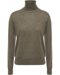 N.Peal Cashmere Mélange Cashmere Turtleneck Sweater Army Green