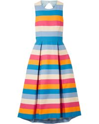 Carolina Herrera Tie-back Striped Cotton And Silk-blend Midi Dress - Blue