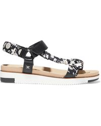 Sam Edelman Ashie Floral-print Satin-twill And Leather Platform Sandals - Black