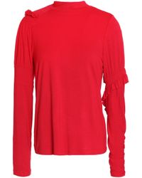Preen Line - Ruffle-trimmed Stretch-cotton Jersey Top Red - Lyst