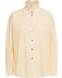 Claudie Pierlot Ruffle-trimmed Striped Cotton Blouse - Natural