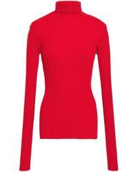 Victoria Beckham Ribbed Cotton-blend Turtleneck Jumper - Red