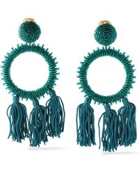 Oscar de la Renta - Gold-tone Bead And Tassel Clip Earrings - Lyst