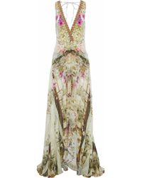 Camilla - Girl In The Garden Layered Embellished Printed Silk Playsuit - Lyst
