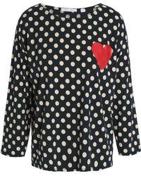 Chinti & Parker - Appliquéd Polka-dot Cotton-jersey Top Midnight Blue - Lyst