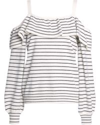 Joie Delbin B Cold-shoulder Striped Wool And Cashmere-blend Jumper Off-white - Multicolour