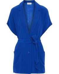 American Vintage Belted Crepe Top - Blue