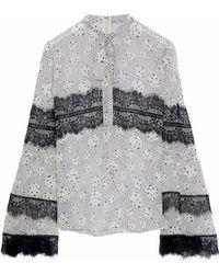 Giambattista Valli Pussy-bow Lace-trimmed Printed Silk-chiffon Blouse Off-white - Multicolour