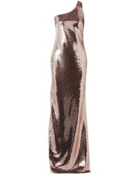 Tom Ford - Woman One-shoulder Sequined Stretch-mesh Gown Rose Gold - Lyst
