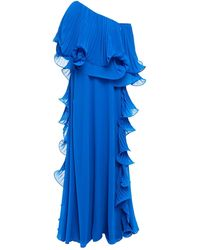 Badgley Mischka Off-the-shoulder Pleated Organza And Georgette Gown Cobalt Blue