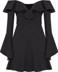 Nicholas - Off-the-shoulder Ruffled Ponte Mini Dress - Lyst