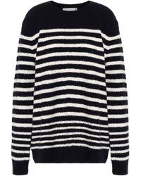 Vince - Striped Wool-blend Sweater Midnight Blue - Lyst