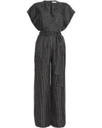 Diane von Furstenberg - Wrap-effect Striped Silk Crepe De Chine Jumpsuit - Lyst