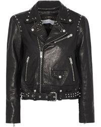 IRO Guara Studded Printed Leather Biker Jacket Black