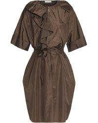 Nina Ricci - Belted Ruffled Silk-satin Dress - Lyst
