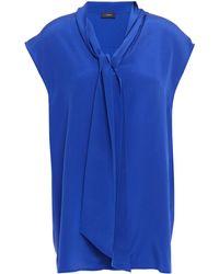 JOSEPH Silk-satin Crepe Top Bright Blue