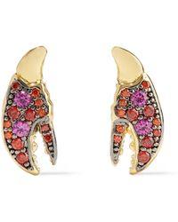 Noir Jewelry - Rangées Rhodium-plated Crystal Hoop Earrings Silver - Lyst