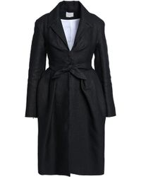 Delpozo - Woman Tie-front Pleated Woven Coat Charcoal - Lyst