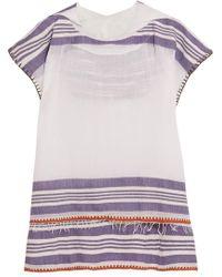 lemlem Safara Fringed Striped Cotton-blend Gauze Hooded Poncho - White