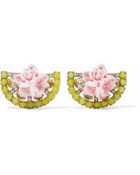 Elizabeth Cole - 24-karat Gold-plated, Swarovski Crystal And Acrylic Earrings - Lyst