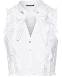 Marissa Webb Callan Dickie Corded Lace-trimmed Ruffled Cotton-canvas Top White