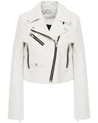 A.L.C. Cropped Leather Biker Jacket White