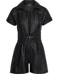 retroféte Retrofête Susan Belted Zip-detailed Quilted Leather Playsuit - Black