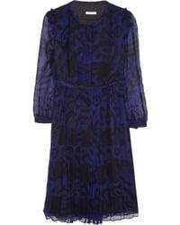 Burberry Brit - Printed Silk-Chiffon Dress - Lyst