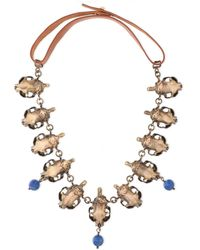 Valentino Burnished Gold-tone, Bead And Leather Necklace Bronze - Metallic