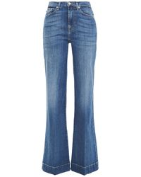 7 For All Mankind 7 For All Kind Distressed High-rise Flared Jeans Mid Denim - Blue