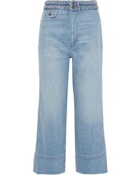 Current/Elliott The Braided Camp Cropped High-rise Wide-leg Jeans Light Denim - Blue