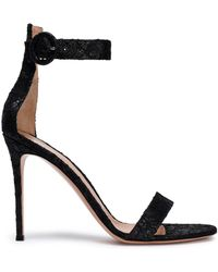 Gianvito Rossi - Fatale Metallic Lace Sandals - Lyst