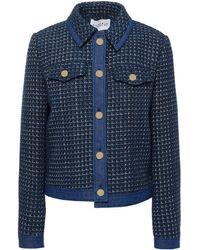 Claudie Pierlot Vivola Denim-trimmed Tweed Jacket - Blue