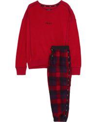 DKNY Embroidered Checked Fleece Pyjama Set Red