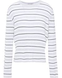 Cotton by Autumn Cashmere Striped Ribbed Cotton Jumper - White